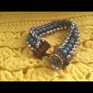 Lucky brand silver tone turquoise leather flower